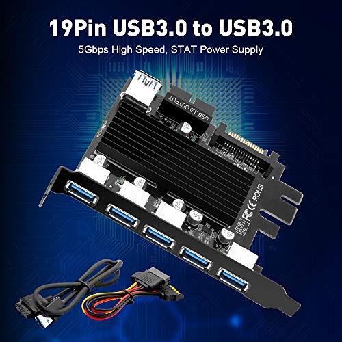 Rocketek Tarjeta de 5 Puertos USB 3.0 para PC de Escritorio, 20-Pin USB to USB 3.0 Express Expansion Card Supports Windows, con Conectores de alimentación SATA 15 Pin, No se Necesita Controlador