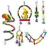 Welltop Juguetes para Pájaros, 6 Piezas Perchas Pájaros Juguetes con...