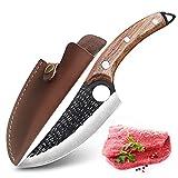 Juego de cuchillos de cocina profesionales, cuchillo para filetear pescado, carnicero, cuchillo con funda de piel, cuchillos artesanales, carnicero chino bolsa porta cuchillos chef