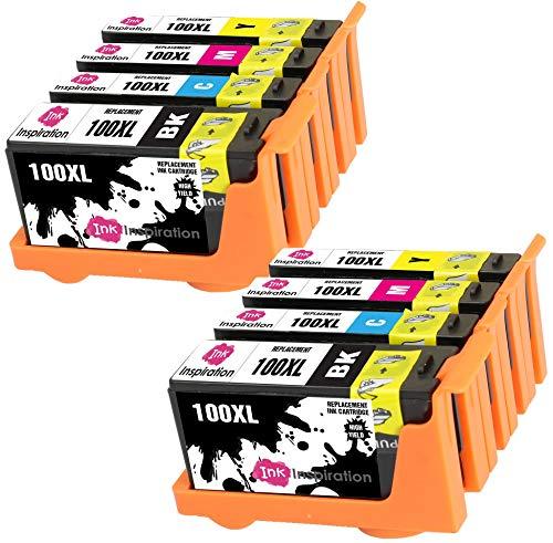 INK INSPIRATION® Ersatz für Lexmark 100 100XL Druckerpatronen 8er-Pack, kompatibel mit Lexmark S305 S402 S405 S505 S602 S605 S815 S816 Pro 202 205 208 209 705 805 901 905, Schwarz/Cyan/Magenta/Gelb