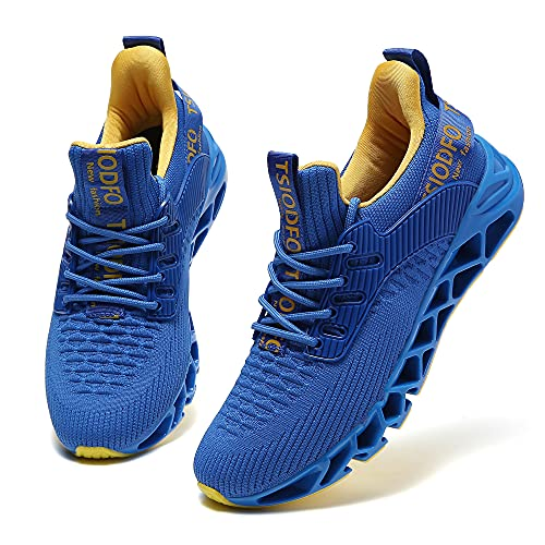 SKDOIUL Sneakers for Women Athletic Running Tennis Shoes Non Slip Sport Walking Shoes Comfort Breathable Slip On Fashion Sneakers Runner Gym Trail Shoe Blue Yellow Size 8.5