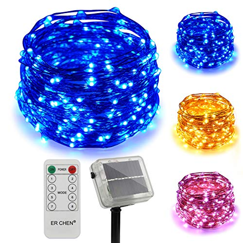 ErChen Dual-Color Solar Powered LED String Lights, 100FT 300 LEDs Remote Control Color Changing 8 Modes Copper Wire Decorative Fairy Lights for Outdoor Garden Patio (Warm White, Blue)