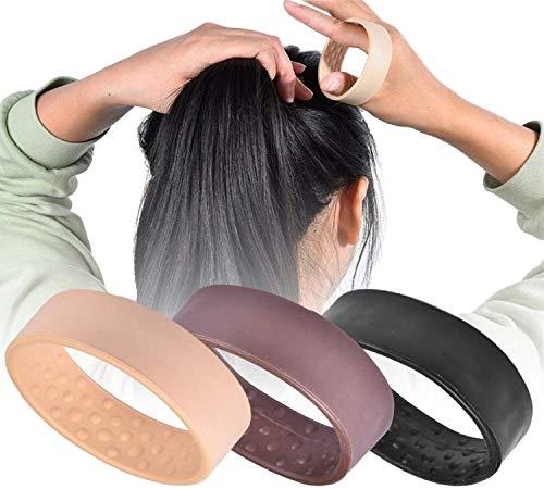 3-Pack Silikon Faltbare Haar Ring Mode Elastische Haarbänder Pferdeschwanz Halter Seil Krawatten für Frauen Mädchen Styling Werkzeug (A)