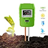 Awinro Soil pH Meter, 3-in-1 Soil Light/pH/Moisture Tester, Farm, Lawn, Garden Soil Test Kit, Indoor/Outdoor Plant Care Gardening Tools (More Accurate, No Battery Need)
