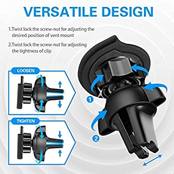 Air Vent Phone Holder for Socket Mount, pop-tech 360° Rotation Vent Clip Car Mount Silicone with Adjustable Switch Lo...