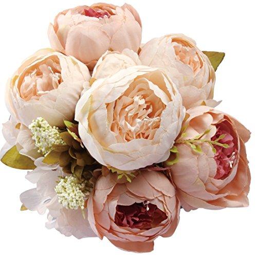 Amkun Kunstblumenstrauß, Pfingstrosen, künstlich, Seide, für Hochzeit/Dekoration, 1Stück champagnerfarben