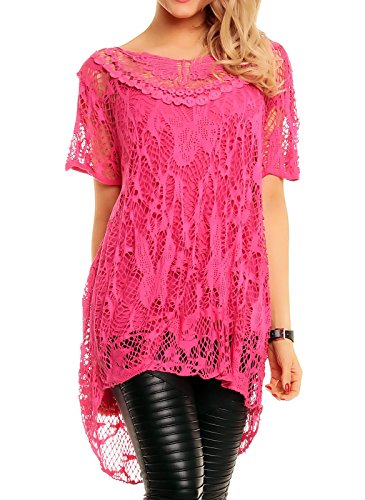 Naz Fashion Womens Italiaanse Lagenlook kant gehaakte mesh tuniek korte mouw Top Vest Twin Set (Fuchsia, 16/18)
