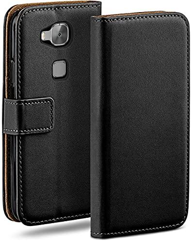 moex Klapphülle für Huawei G8 / GX8 Hülle klappbar, Handyhülle mit Kartenfach, 360 Grad Schutzhülle zum klappen, Flip Hülle Book Cover, Vegan Leder Handytasche, Schwarz
