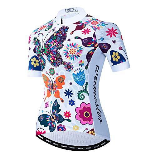 WEJFFAN Radsport-Anzüge Für Damen,Cute Color Butterfly Neue Sommer Team Trikot Kurzarm Atmungsaktiv Quick-Dry Shirts,Für Outdoor Sport Rennrad MTB Reiten,XL