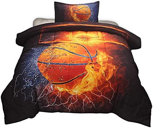 NTBED - Juego de funda de edredón con motivo de baloncesto y fútbol, para cama doble, 3 piezas (sin sábanas ni relleno)