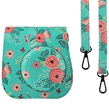 SAIKA Protective Case for Fujifilm Instax Mini 8 Mini 8+ Mini 9 Instant Camera - Premium PU Leather Bag with Removable Strap [Flower]