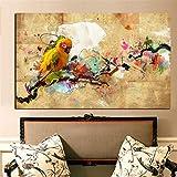 Impresión HD Acuarela Pintura al óleo Loro Animal Cuadro en Lienzo, Cuadros Modernos Salón Decoracion de Pared Canvas Prints, Wall Art Modular Poster Mural Decorativo,80x120cm