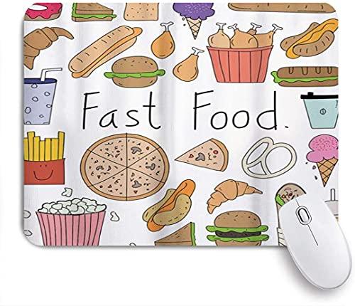 PATINISA Alfombrilla Raton Ordenador,Comida rápida Letras Aliment Doodle Helado Sandwich Hamburguesa Papas Fritas Donuts Pizza Multicolor,Alfombrilla Suave Gaming para Ratón Adecuado