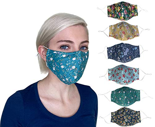 Cute Floral Face Mask Reusable Washable Breathable with Adjustable Ear Loops, Nose Wire, Filter Pocket, 3-layer Decorative Cotton, Pretty, Colorful Flower, Fruit, for Teens, Women (Combo9-6Pack))