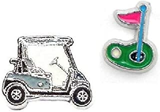 Cherityne Golf Themed Set of 2 Floating Charm for Locket Pendants