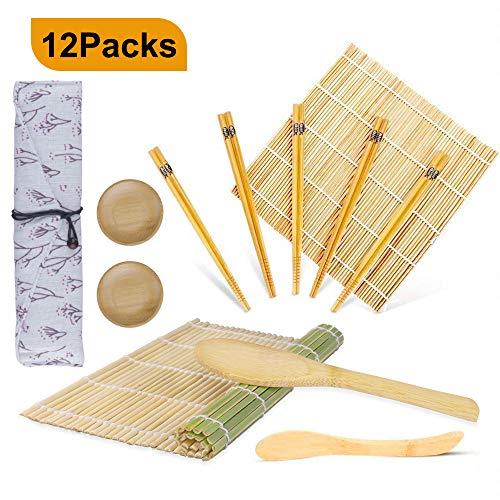 12-teiliges Sushi-Set, OFUN Bambus-Sushi-Zubereitungsset - 2 x Matten, 1 x Reispaddel, 1 x Reisverteiler, 5 Paar Essstäbchen, 2 x kleine Platte, 1 x Leinwand-Essstäbchenbeutel