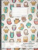 """Blanko Notizbuch • A4-Format, 100+ Seiten, Soft Cover, Register, """"Lustige Eulen"""" • Original #GoodMemos Blank Notebook • Perfekt als Zeichenbuch, Skizzenbuch, Sketchbook, Leeres Malbuch"""