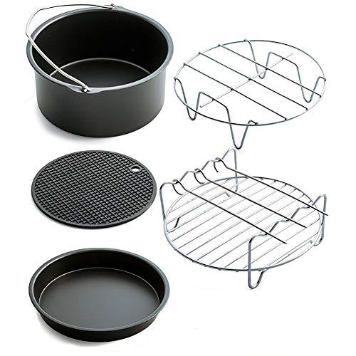 Webuyii Luftfritteusen-Zubehör-Set, 17,8 cm, mit Rezept-Kochbuch, passend für alle Air-Friteusen, multifunktionale Kochutensilien 5 Stück