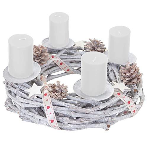 Mendler Adventskranz rund, Weihnachtsdeko Tischkranz, Holz Ø 30cm weiß-grau ~ mit Kerzen, weiß