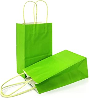 AZOWA Gift Bags Light Green Kraft Paper Bags With Handles Party Supplies Set OF 25