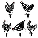 BAOZAI Yard Chicken Art – Figura de jardín de metal, gallina, decoración hecha a mano, decoración de jardín, pollo, decoración de exterior, jardín, patio trasero, estacas de metal, gallina, yard