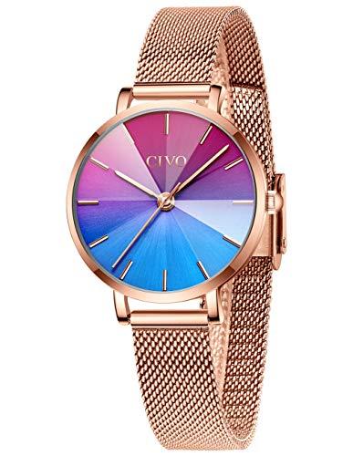 CIVO Uhren Damen Roségold Edelstahl Mesh wasserdichte Armbanduhr für Damen Frauen Mädchen Analoge Uhren Damen Farbverlauf Zifferblatt Elegante Kleid