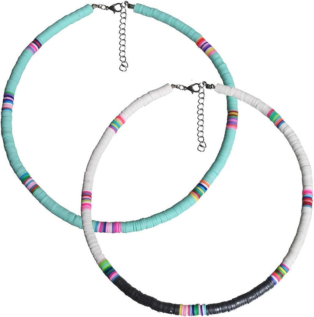 2 PCS Surfer Choker Boho Jewelry Handmade Summer Beach Collar Necklace African Vinyl Disc Beads Necklace for Women Girls