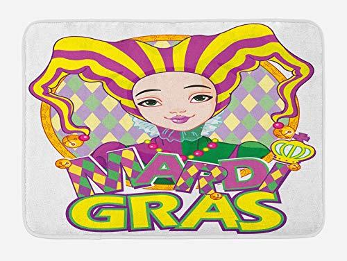 Alfombrilla de bao Mardi Gras, Carnaval de nia con disfraz de arlequn y sombrero, tema de martes gordo de dibujos animados, alfombrilla de felpa para decoracin de bao con respaldo antideslizante,