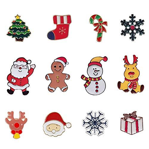 12 Pcs Christmas Brooch Pin Set Xmas Brooch Buttons Safety Pins Snowflake Santa Badge for Clothes Bag Backpack (Xmas)
