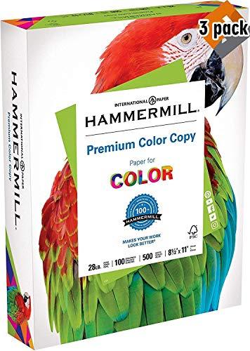 Hammermill Paper, Premium Color Copy Paper 8.5 x 11 Paper, Letter Size, 28lb Paper, 100 Bright, 1 Ream / 500 Sheets (102467R) Acid Free Paper 3 Pack