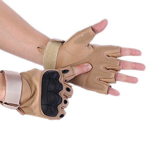 Codomoxo® Taktische Handschuhe der Armee Militär Spezielle im Freien, halbrunde Finger, halbe Finger, Fitness-Handschuhe aus Leder, Herren, gelb, M