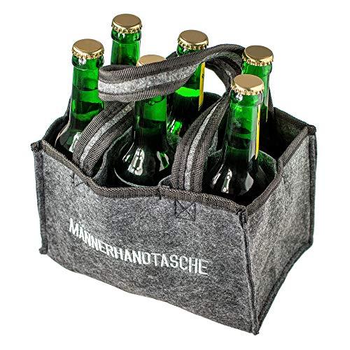 Monsterzeug Bierträger aus Filz für 6 Flaschen, Männerhandtasche Bier, Flaschenträger aus Stoff, Flaschenträger für Sixpack