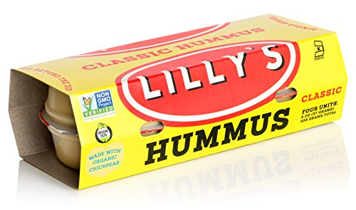 Lilly's Hummus - Hand-Made Small Batch, Classic Hummus, Gluten Free, Vegan, Kosher, Non-GMO, Made with Chickpeas, 2 oz Cups, 16 Count