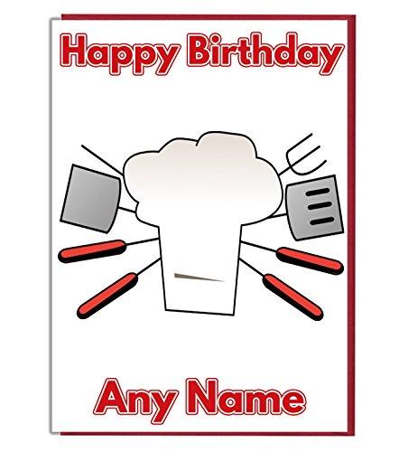 Barbacoa Chef personalizado tarjeta de cumpleaños–cualquier nombre y edad impreso en la parte delantera