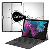 MAITTAO Microsoft Surface Pro 7 case, Folio Smart Stand Strap Case for Surface Pro 7 2019 / Pro LTE 12.3-inch Tablet Sleeve Bag 2 in 1, Compatible with Type Cover Keyboard, Creative Bulb 4