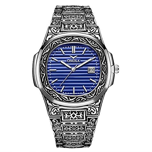 Shmtfa Reloj Vintage para Hombre Reloj Pulsera Cuarzo AnalóGico CronóGrafo Resistente Al Agua con Correa De Acero Inoxidable Dial Calendario para DecoracióN De MuñEca Moda(Azul Plateado)