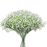 Momkids 12 PCS Artificial Baby Breath Flowers Fake Gypsophila Bouquet Real Touch Flower for Wedding Bridal Decor DIY Home Birthday Party Decorations(White)