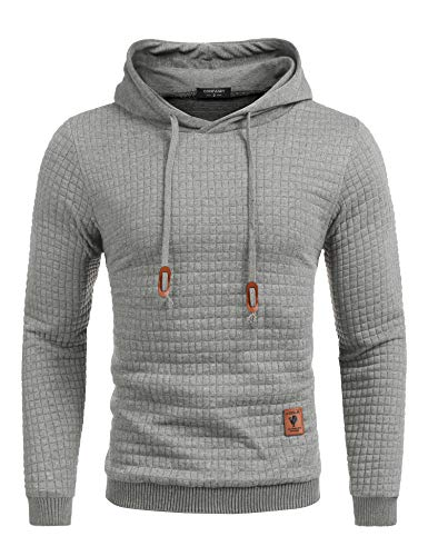COOFANDY Men's Sweatshirt Hipster Gym Long Sleeve Drawstring Hooded Plaid Jacquard Pullover Hoodies(Grey,M)
