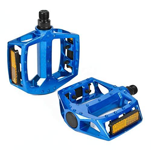 Bestine - Pedale per mountain bike, in lega di alluminio, per mountain bike, bici da strada, pedali, MTB, a cambio fisso, adatto a 9/16', colore: blu
