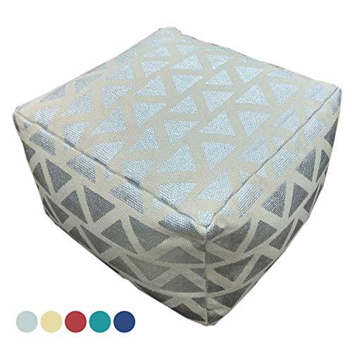 casamia zitkruk zitkubus 55x37x55 cm voetenbank vloerkussen design poef kelim stijl Maja 5 kleuren modern metallic zilver