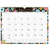 2022 Calendar - 12 Monthly Wall Calendar with Thick Paper, 14.6' x 11.5', January - Dec 2022, Twin-Wire Binding + Hanging Hook + Ruled Blocks with Julian Dates - Black Floral