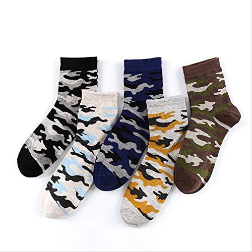 XWASOCK 5 Paare/los Socken Graffiti Grün Herren Baumwolle Kurze Socken Jungle Style Winter Klassische Camouflage Socken Eur 39-44