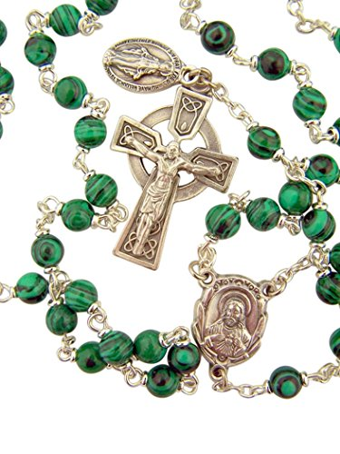 Green Enamel Prayer Bead Sacred Heart Rosary with Celtic Crucifix, 18 1/2 Inch