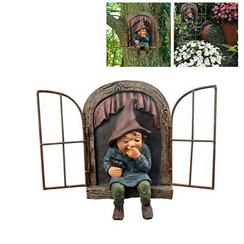 Elf Out The Door Tree Hugger, Gnomo Statua da giardino, Gnome lascia la finestra, Scultura stravagante albero decorazione da giardino, ornamento per interni ed esterni