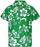 King Kameha Funky Hawaiian Shirt, Shortsleeve, Hibiscus, Green, M