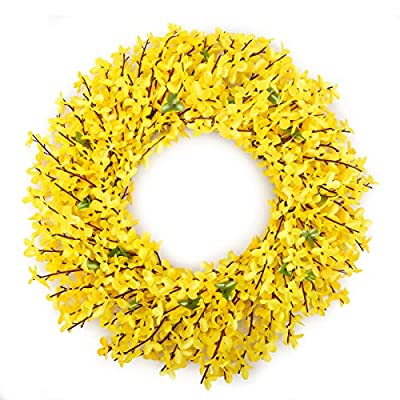 Bomarolan Artificial Forsythia Wreath 19 Inch Summer Fall Large Wreaths Springtime All Year Around Flower Green Leaves for Outdoor Front Door Indoor Wall Or Window D?cor