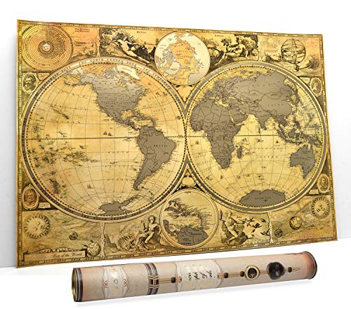 Scratch World Travel Map Scratch Off Map Hemisphere Antique Antique Old map poster 16 x 24 Premium Bussines mappa dettagliata mappa murale Push Pin Usa mappa e Caraibi in Tube