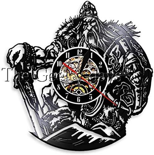 Dios mítico escandinavo Odin Guerrero Vikingo con Espada y Escudo Reloj de Pared para Cantar de Vinilo Reloj de decoración de Pared de Guerrero