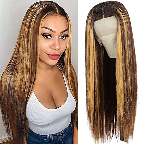Nnzes Long Straight T-Part Lace Front Wigs Highlight Synthetic Wigs for Women Middle Part Blonde Highlight Lace Front Wig 26 Inch Natural Looking Heat Resistant Fiber Hair for Daily Party Wear