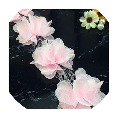 24X Blumen 3D Chiffon Cluster Blumen-Spitze-Kleid-Dekoration-Spitze-Gewebe Applikationen Trimmen Zu, B